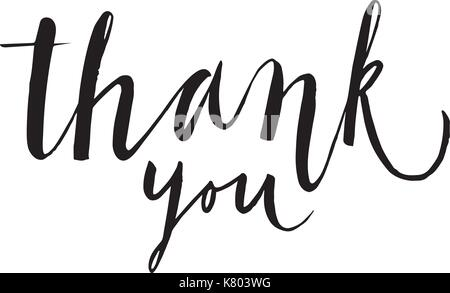Hand drawn lettering. Thank You calligraphy. Vector illustration. - Stock Photo