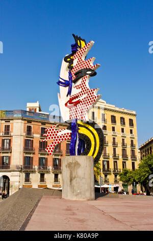 Barcelona, Spain - September 26, 2014: Surrealistic sculpture  'El Cap de Barcelona' ('The Head of Barcelona') by - Stock Photo