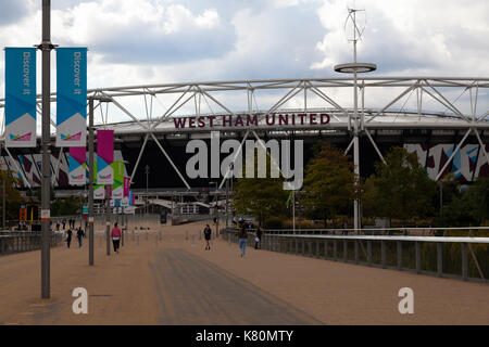 The London Stadium at the Queen Elizabeth Olympic Park branded as the home of West Ham United Football Club, London, - Stock Photo