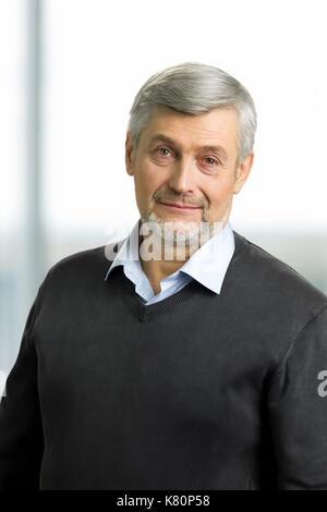 Portrait of grey hair man. - Stock Photo