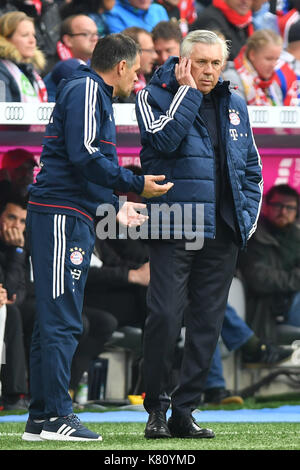 Muenchen, Deutschland. 16th Sep, 2017. v.re:Carlo ANCELOTTI (Trainer FCB) mit Willy SAGNOL (Co Trainer FCB). Fussball - Stock Photo