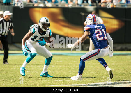 Charlotte, North Carolina, USA. 17th Sep, 2017. Carolina Panthers wide receiver Devin Funchess (17) during game - Stock Photo