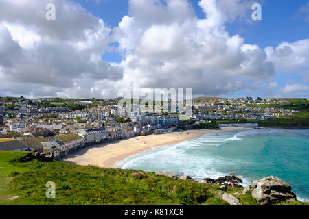 Porthmeor Beach, View from The Island, St Ives, Cornwall, England, Great Britain - Stock Photo