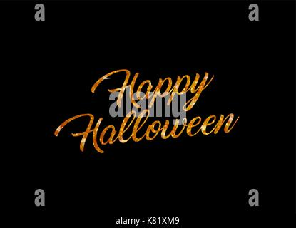 The orange glitter isolated hand writing word HAPPY HALLOWEEN on black background - Stock Photo