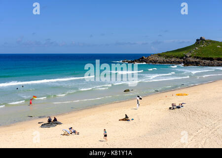 Porthmeor Beach, St Ives, Cornwall, England, Great Britain - Stock Photo