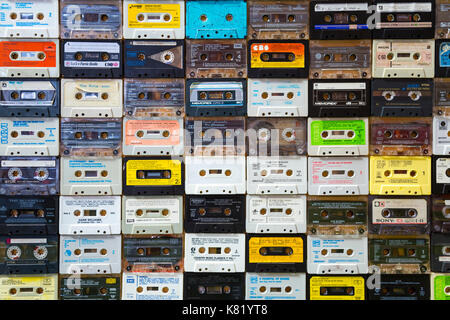 Background of old retro cassette tapes - Stock Photo