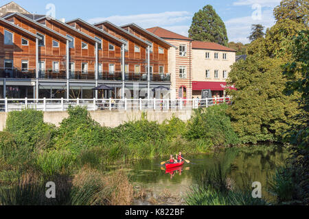 Kayaking on River Avon by Bridge Yard, Kingston Mills, Bradford On Avon, Wiltshire, England, United Kingdom - Stock Photo