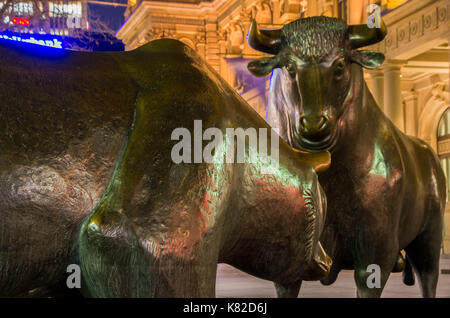 Frankfurt am Main, Hessen Germany - January 19 2017 : The Bull and Bear Statues at the Frankfurt Stock Exchange - Stock Photo