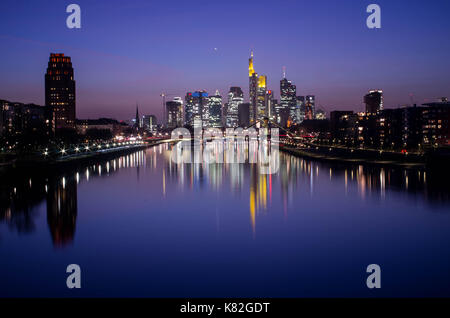 Frankfurt am Main, Hessen, Germany - March 16, 2017: Frankfurt am Main city skyline during blue hour in Frankfurt, - Stock Photo