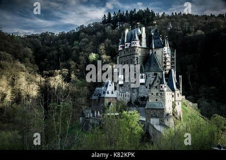 Wierschem, Germany - April 13 2017 - Burg Eltz castle in Wierschem, Germany. - Stock Photo