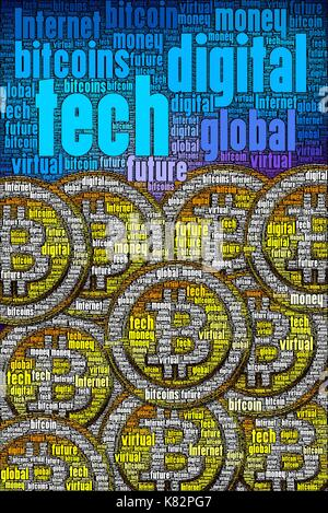 Bitcoins concept art made only with words about the subject. High detail in every word art photo I make. Guaranteed. - Stock Photo