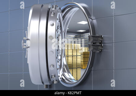 3d rendering bank vault opened with bullion inside - Stock Photo