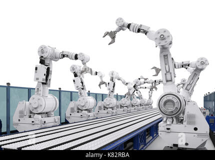 3d rendering robot arms with conveyor line - Stock Photo