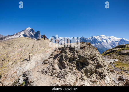 Lac Chesery. Monte Bianco Haute Savoie Aiguille Verte France - Stock Photo