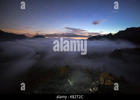 Sunrise on Mount Rosa and Matterhorn. Natural Park of Mont Avic. Valle d'Aosta Graian Alps Italy Europe - Stock Photo