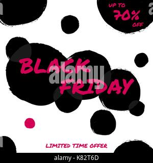 Abstract Black Friday sale design with text in pink and black bubbles on white background. Poster, brochure or greeting - Stock Photo