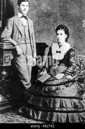 sigmund freud with the mother amalia, 1872 - Stock Photo