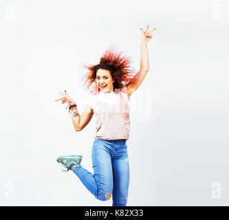 young cute mixed races girl teenage posing cheerfull on white background isolated, happy smiling lifestyle people - Stock Photo