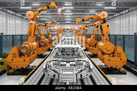 3d rendering robot assembly line in car factory - Stock Photo