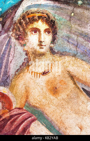 Ancient painted wall fresco of Venus at the ancient Roman city of Pompeii - Stock Photo