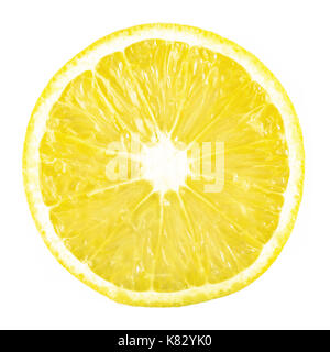 slice ripe lemon citrus fruit on a white background - Stock Photo