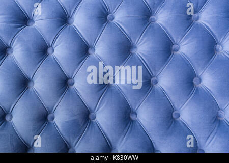 Blue Fabric Sofa Texture With Buttons For Background And Design.   Stock  Photo