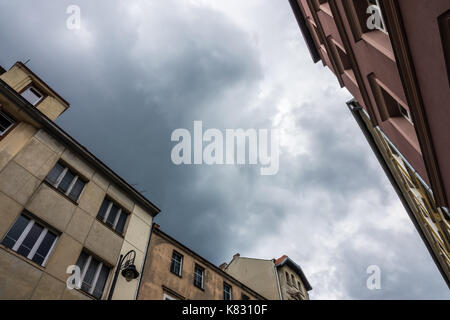 Upward view of the old tenement houses on the Dworcowa street in Bydgoszcz, Poland - Stock Photo