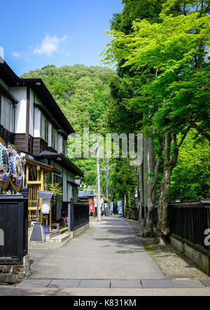 Akita, Japan - May 17, 2017. Main street of Kakunodate Samurai District in Akita, Japan. Kakunodate is a former - Stock Photo