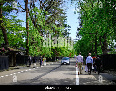 Akita, Japan - May 17, 2017. Tourists walking on street at Kakunodate Samurai District in Akita, Japan. Kakunodate - Stock Photo