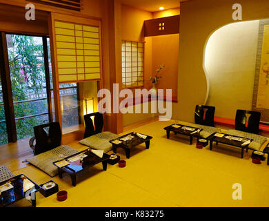 Akita, Japan - May 17, 2017. Interior of luxury restaurant (ryokan) in Akita, Japan. Akita is a large prefecture - Stock Photo