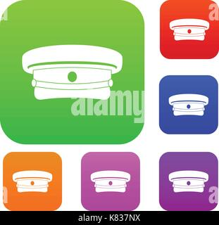 Military hat set color collection - Stock Photo
