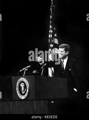 United States President John F. Kennedy pointing to a reporter during a press conference in the State Department - Stock Photo