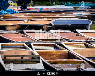 Cambridge Tourism - punts on the River Cam tied up while waiting for tourists to hire them - Stock Photo
