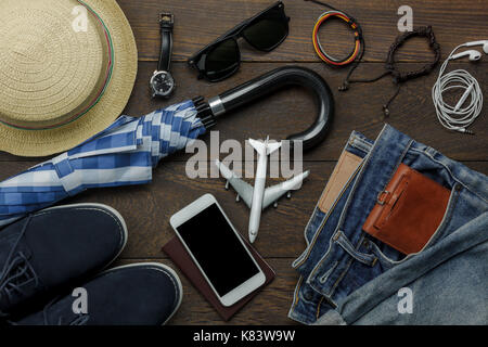 Overhead view of accessories fashion men clothing with technology concept background.Mix variety object on modern - Stock Photo