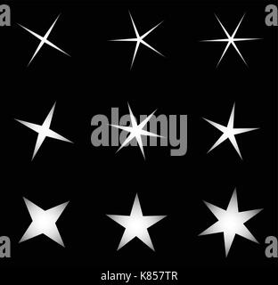 transparent star vector symbol icon design. Beautiful illustration of glowing light effect stars bursts with sparkles - Stock Photo
