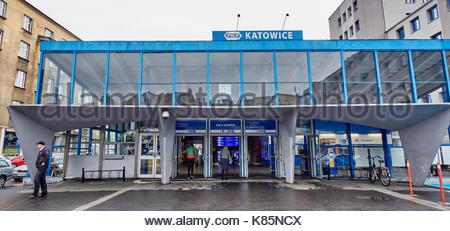 KATOWICE, POLAND - SEPTEMBER 16, 2017:Railway station in Katowice on 16 September 2017 in Katowice, Poland. The - Stock Photo