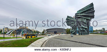 KATOWICE, POLAND - SEPTEMBER 16, 2017: Silesian Insurgents Monument on 16 September 2017 in Katowice, Poland. Silesian - Stock Photo
