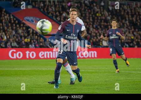 Julian Draxler in action during the French Ligue 1 soccer match between Paris Saint Germain (PSG) and Olympique Lyonnais (OL) at Parc des Princes. On September 17, 2017 in Paris, France