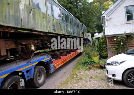 Titley, Herefordshire, UK - Monday 18th September 2017 - An old diesel train being moved by specialist transport - Stock Photo