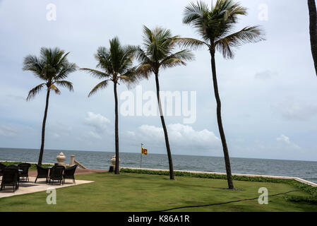 The sea view from the lawns of  the Galle Face Hotel, Sri Lanka's iconic landmark, facing the seafront and Galle - Stock Photo