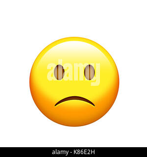 The osolated yellow sad and unhappy face icon - Stock Photo