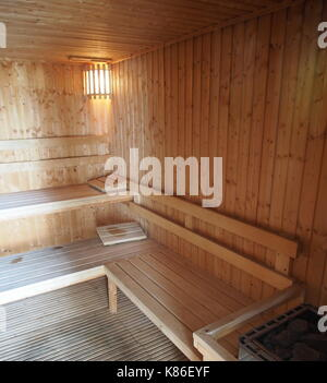 Sauna Wooden Room, Bath House, Relax Spa. Japanese Style. - Stock Photo