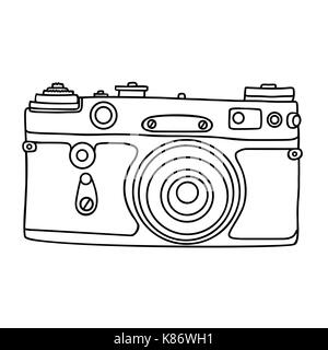 Hand Drawn Hipster Old Photo Camera Vintage Icon Simple Vector Illustration