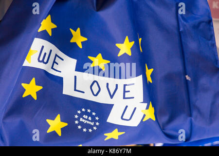 We Love U flag 48 & Beyond at Stop Brexit Demonstration at Bournemouth, Dorset in September - Stock Photo