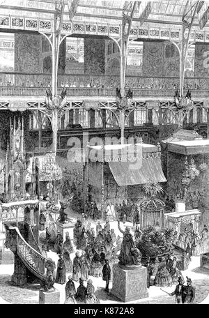 the international exposition 1855, Paris, France, industrial palace, part of the transept, Digital improved reproduction - Stock Photo