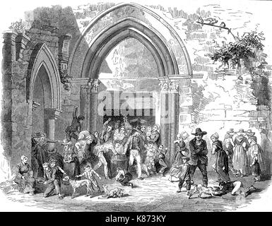 Donation of alms for the poor people, France, 1855, Digital improved reproduction of an original woodprint from - Stock Photo