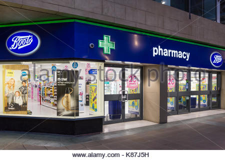 Boots pharmacy and retail store in St Nicholas Arcade,  Lancaster, UK - Stock Photo