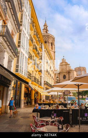 Valencia Spain, view of the west side of Plaza de la Reina in the historical centre of Valencia with the cathedral - Stock Photo