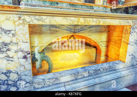 ROME, ITALY - MAY 09, 2017 : Inside  interior of the Pantheon, is a former Roman temple, now a church, in Rome,Raphael's - Stock Photo