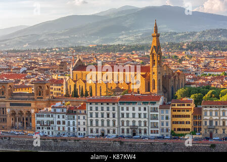 Beautiful landscape above, panorama on historical view of the Florence from  Piazzale Michelangelo point .Italy. - Stock Photo